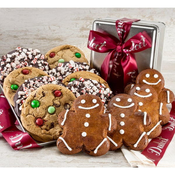 Gingerbread and Peppermint Cookie Gift Tin