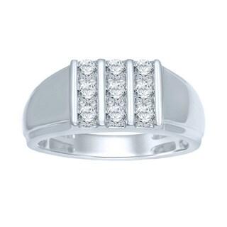 Unending Love Mens 10k White Gold 3/4ct TDW Hidden Diamond Ring (I-J, I1-I2)