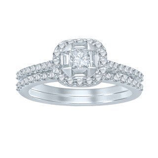 Undending Love 14k White Gold 1ct TDW Princess Center Diamond Bridal Set (I-J, I1-I2)