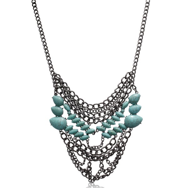 Passiana Turquoise Chain Statement Necklace