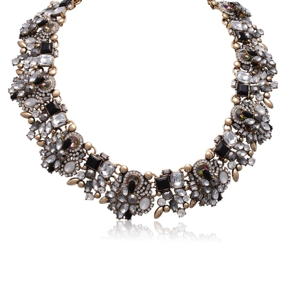 Passiana Black Crystal Statement Necklace