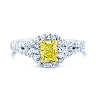 14k Gold 1 1/3ct TDW GIA Certified Cushion-cut Yellow Diamond Ring (G-H, VS1-VS2)