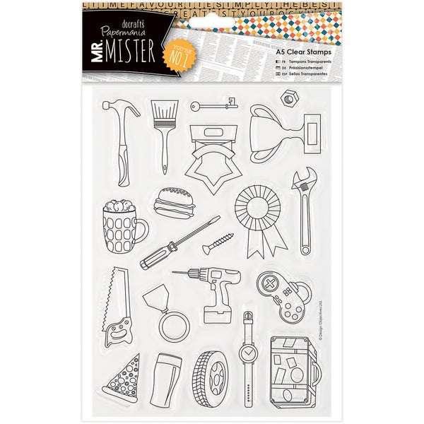 Papermania Mr. Mister A5 Clear Stamps-Icons