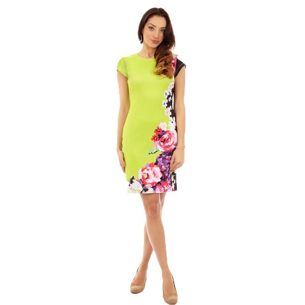 Cut Out Neck Line Piped Sheath Mult-Color Dress