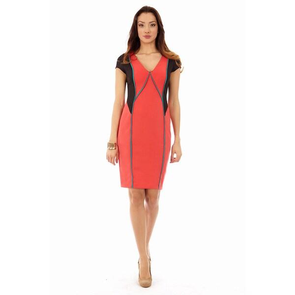 Women's Coral Teal and Black Block V-Neck Sheath Dress