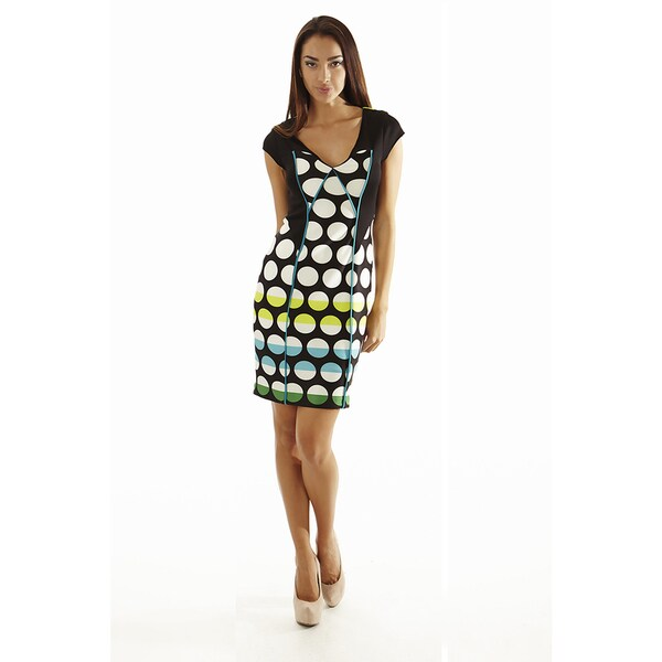 Women's Color Block V-Neck sheath Striped dot Print Multicolor Drress