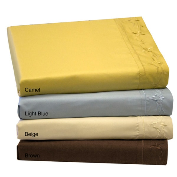 Solid Emboidered Scoll and Floral Sheet Set
