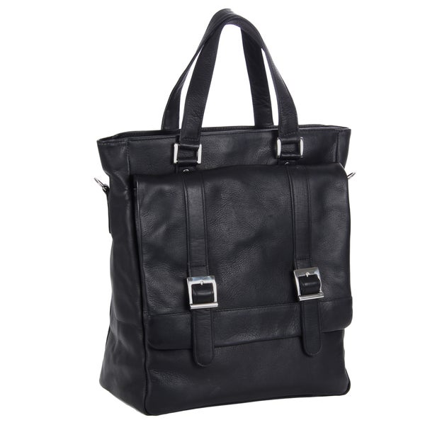 Piel Leather Buckle Flap-Over Shoulder Bag