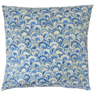 Zaltana Blue Damask 18-inch Feather and Down Filled Throw Pillow