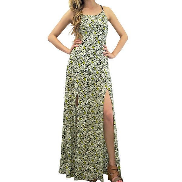 Women's Contemporary Field of Flowers Split Maxi Dress