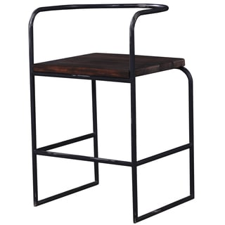 Somette Hand-Crafted Weathered Black Pipe Counter Height Bar Stool