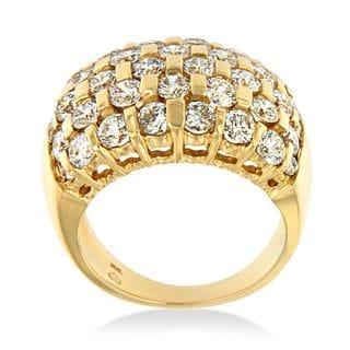 14k Yellow Gold 3 3/4ct TDW Round Diamond-cut Ring (H-I,SI2-SI1)