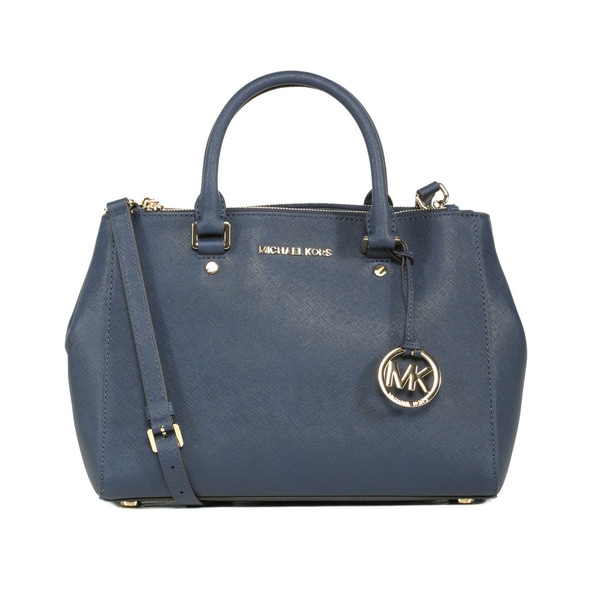 MICHAEL Michael Kors Sutton Medium Navy Satchel