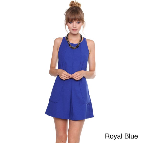 Juniors' Contemporary Royal Blue Sleeveless Dress with Pleating