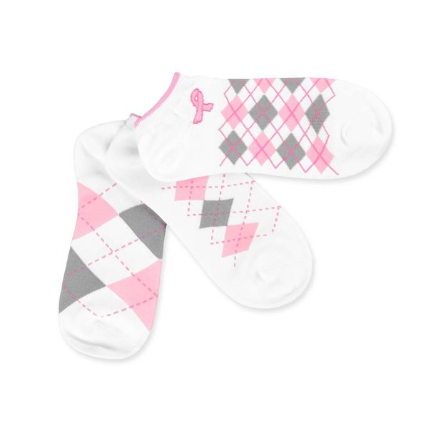 TeeHee Breast Cancer No Show 3-Pack Argyle, Size 9-11, White