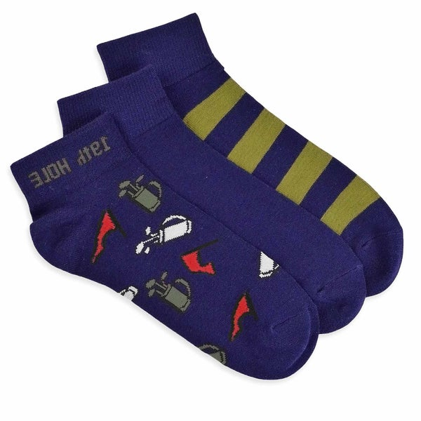 TeeHee Men's Golf Socks Quarter Crew 3-pack, Golf Bag Flag, Navy