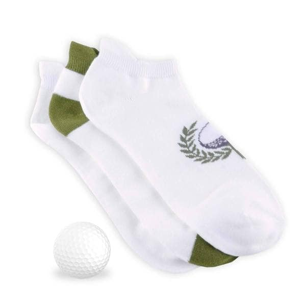TeeHee Men's Golf Socks No Show with Tab 3-pack, Golf Ball, White