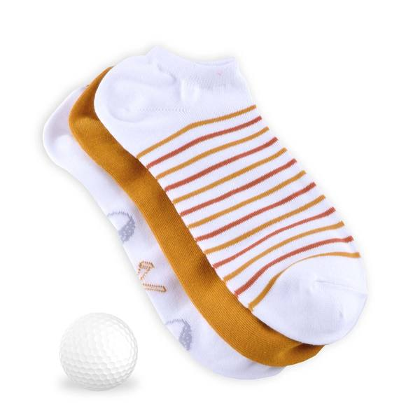 TeeHee Men's Golf Socks No Show 3-pack, Golf Ball w/Tee, White