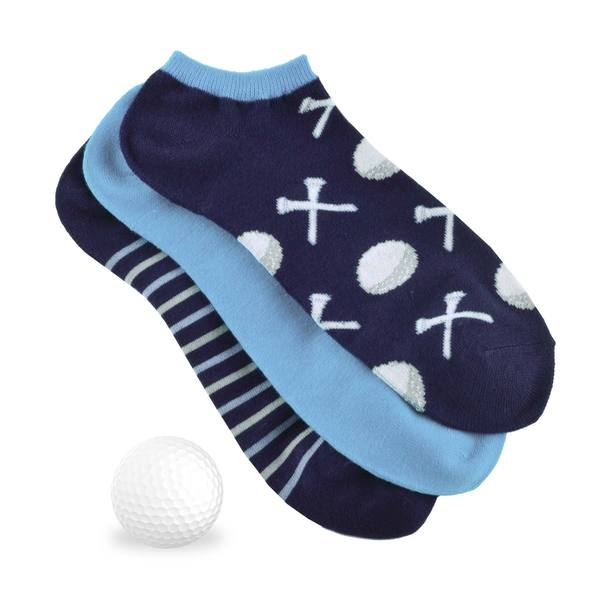 TeeHee Men's Golf Socks No Show 3-pack, Golf Ball w/Tee, Navy