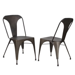 Adeco Metal Stackable Tolix Style Dining Chairs (Set of 2)