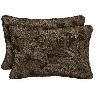 Bombay Outdoors Palmetto Espresso Reversible Outdoor Lumbar Pillows (Set of 2)