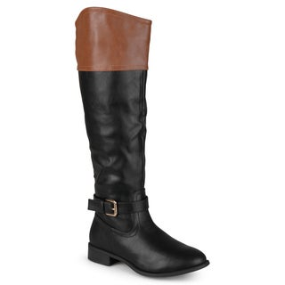 Journee Collection Women's 'Derby' Two-tone Buckle Riding Boots