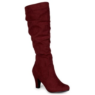 Journee Collection Women's 'Tilly' Heeled Microsuede Boots