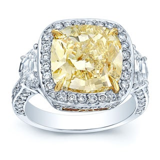 Platinum and 18k Yellow Gold GIA Certified 5 1/2ct TDW Yellow Diamond Ring (H-I, SI1-SI2)