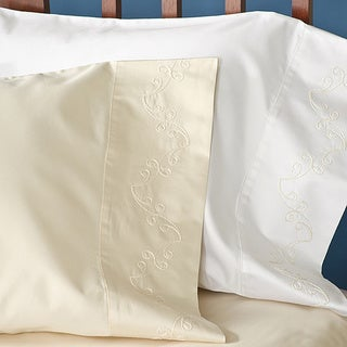 Grand Luxe Egyptian Cotton Sateen 1200 Thread Count Scroll Pillowcases (Set of 2)