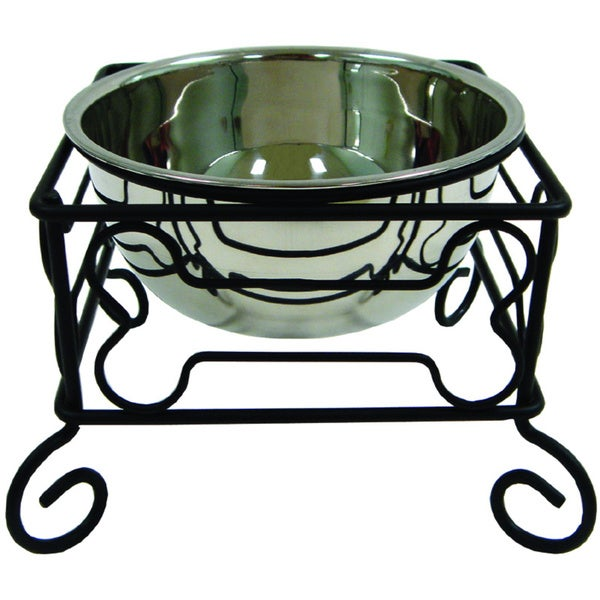 YML Single Stainless Steel Pet Dinner Bowl with Iron Stand