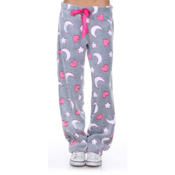 Stanzino Women's Sleepwear Heart and Moon Lounge Soft Plush Pants