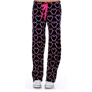 Stanzino Women's Sleepwear Black Heart Lounge Soft Plush Pants