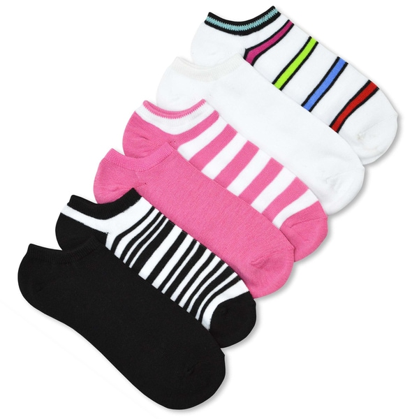 TeeHee Solid & Stripe 6 Pair Pack No show socks