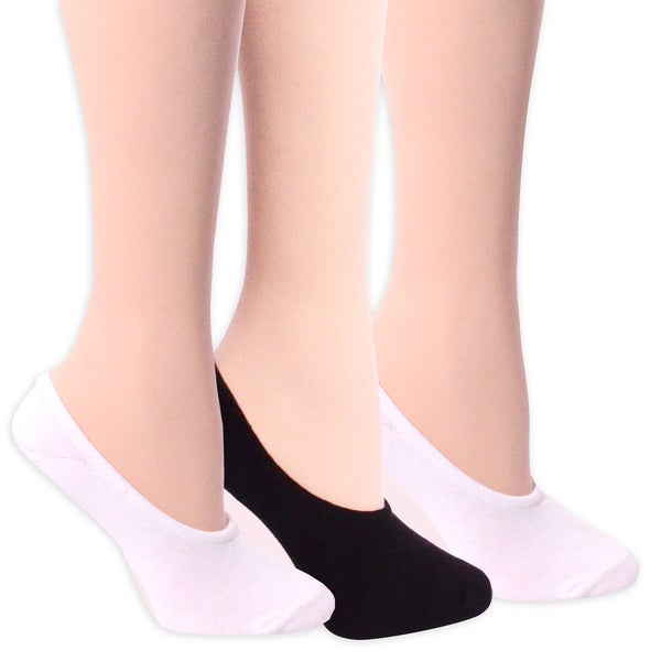 TeeHee Women's No Show Cotton Liner 3-pair Pack White 2 + Black 1 Size 9-11