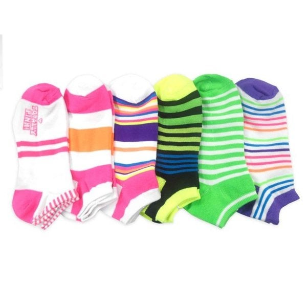 TeeHee Women Fashion No Show Socks 6-Pack, Neon Stripes Fun Socks (AHB-3110)