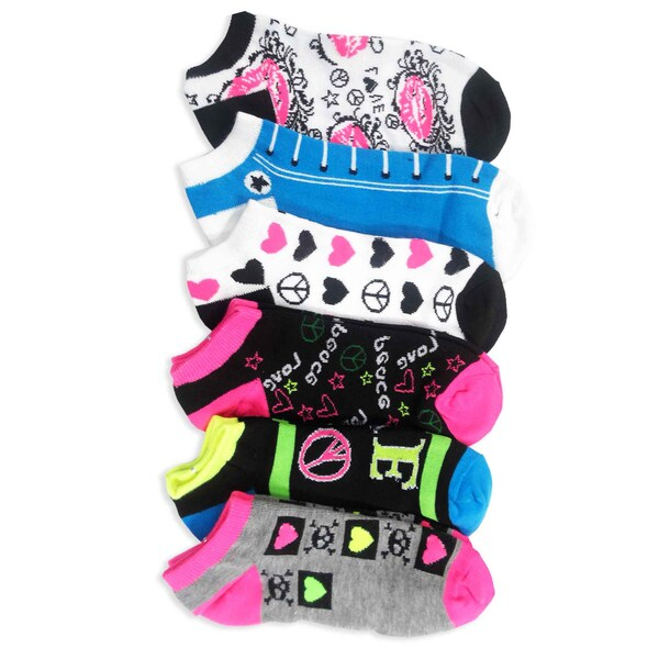 TeeHee Women Fashion No Show Socks 6-Pack, Love Peace Lips Sneaker Fun Socks (AHB-3100)