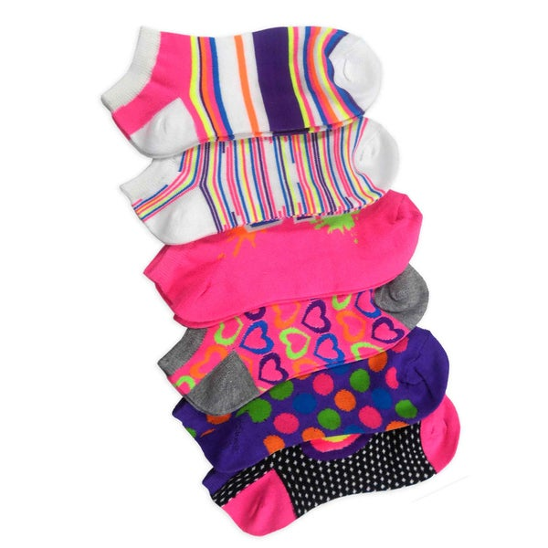 TeeHee Women Fashion No Show Socks 6-Pack, Neon Rainbow Hearts Love Dots Fun Socks (AHB-3103)