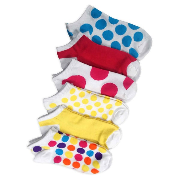 TeeHee Women Fashion No Show Socks 6-Pack, Dots and Plain Fun Socks (AHB-3105)