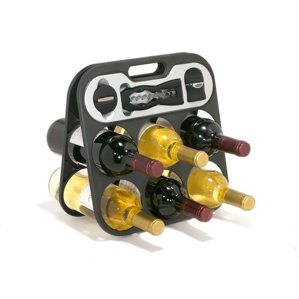 Metrokane Wine Bar Portable Wine Rack with Built-In Tools