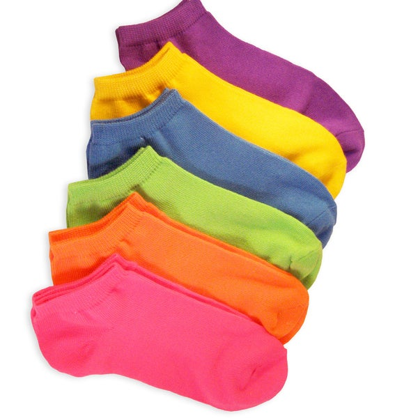 Soxnet Womens Neon Solid 6 Colors Low Cut 6-Pack Socks