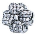 Queenberry Sterling Silver Four Leaf Clover Lucky Cubic Zirconia European Bead Charm