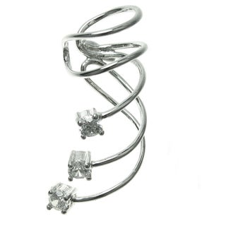 Queenberry Rhodium Sterling Silver Cubic Zirconia Dot Earring Cuff for Left Ear