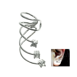 Queenberry Rhodium Sterling Silver Cubic Zirconia Dot Earring Cuff for Right Ear