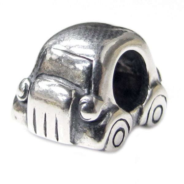 Queenberry Sterling Silver Lover Beetle Mini Car European Bead Charm