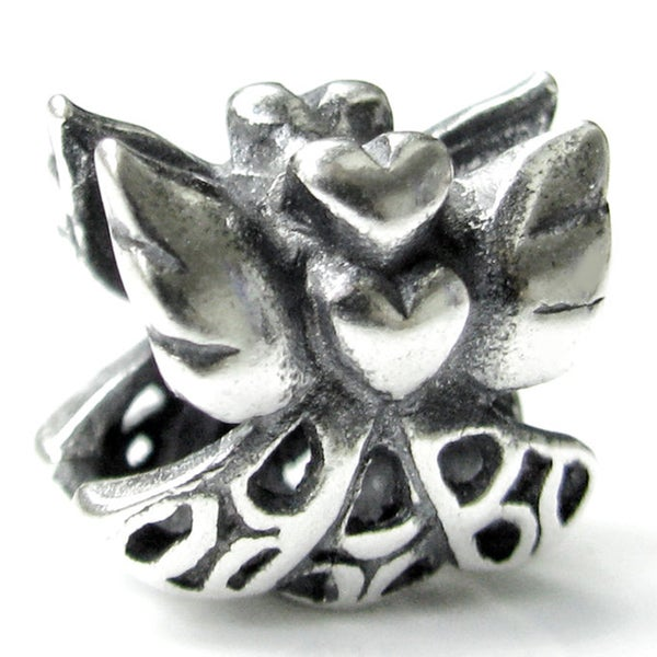 Queenberry Sterling Silver Heart Love Angel European Bead Charm