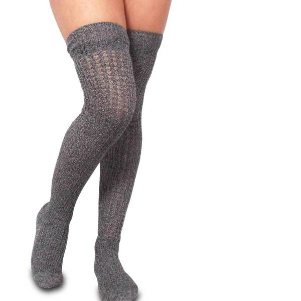 TeeHee Womens Fashion Cotton Marl Open Stitch Over the Knee Socks (Black, Bittersweet, Oxblood, Sapphire)