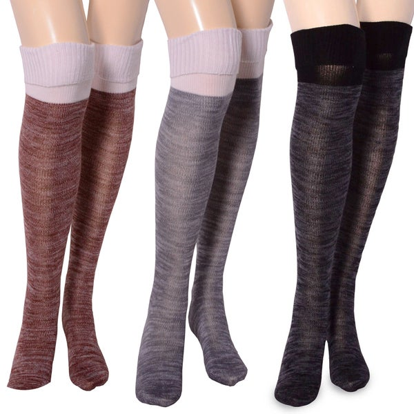 TeeHee Womens Fashion 2 Color Cuff Over the Knee Socks (Black, Grey, Sienna)