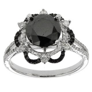 10k White Gold 3 1/5ct TDW Black and White Diamond Ring (G-H, I2-I3)