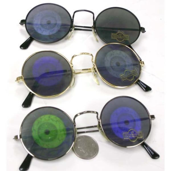 Gun Metal Hologram Eye Lens Round Lennon Style Sunglasses Poker Party Adult
