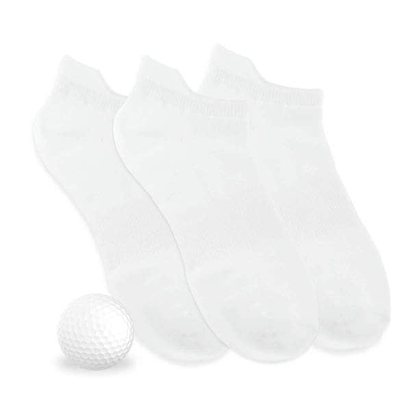 TeeHee Women's Golf Socks Solid No Show with Tab 3-Pack, White